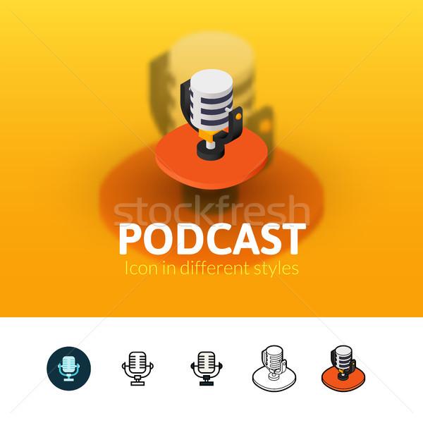 Podcast icona diverso stile colore vettore Foto d'archivio © sidmay