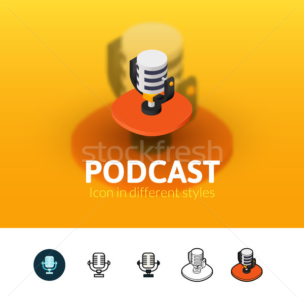 Podcast ícone diferente estilo cor vetor Foto stock © sidmay
