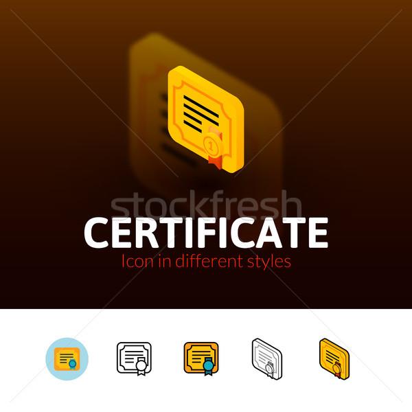 Certificado icono diferente estilo color vector Foto stock © sidmay