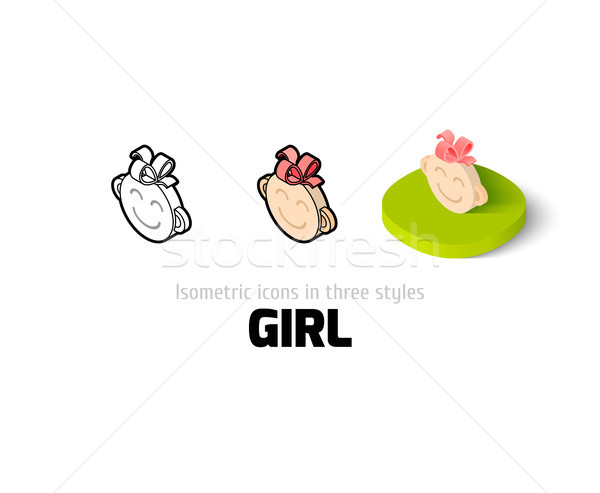 Girl icon in different style Stock photo © sidmay