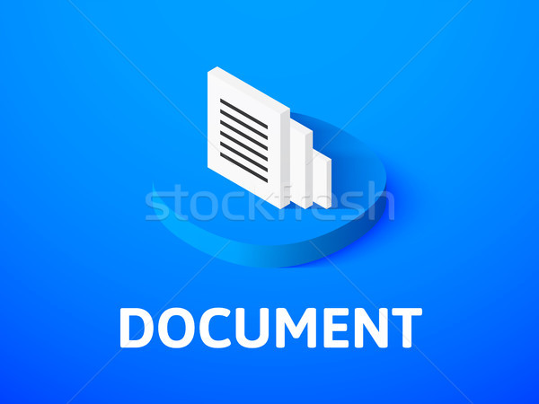 Document isometric icon, isolated on color background Stock photo © sidmay