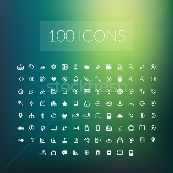 Set of 100 simple universal modern thin line icons Stock photo © sidmay