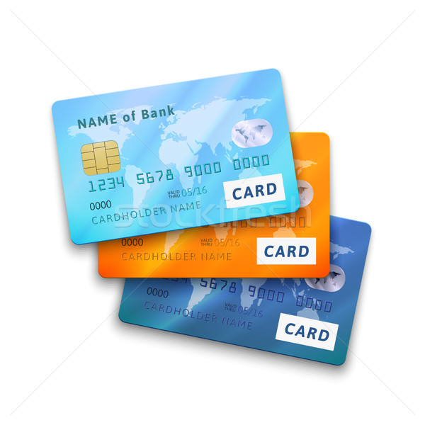 Stock photo: Set of detailed glossy credit cards