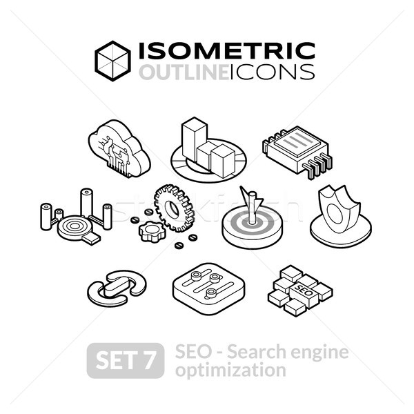 Isometric outline icons set 7 Stock photo © sidmay