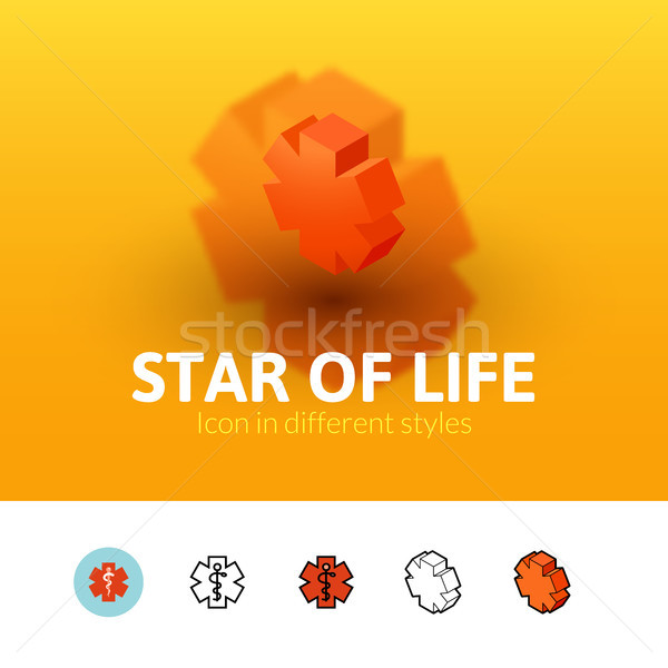 Star of life icon in different style Stock photo © sidmay