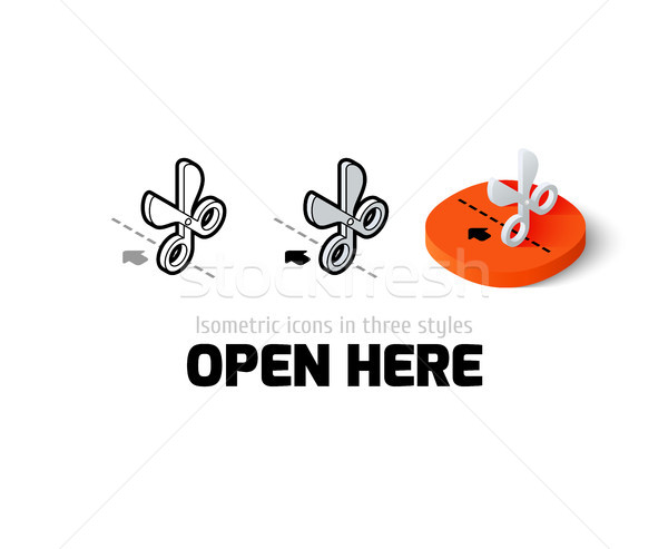 Open here icon in different style Stock photo © sidmay