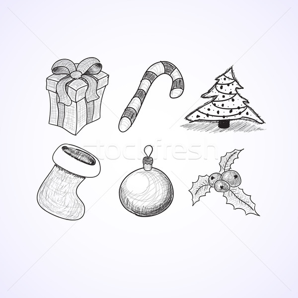 Christmas icons doodles sketchbook Stock photo © sidmay