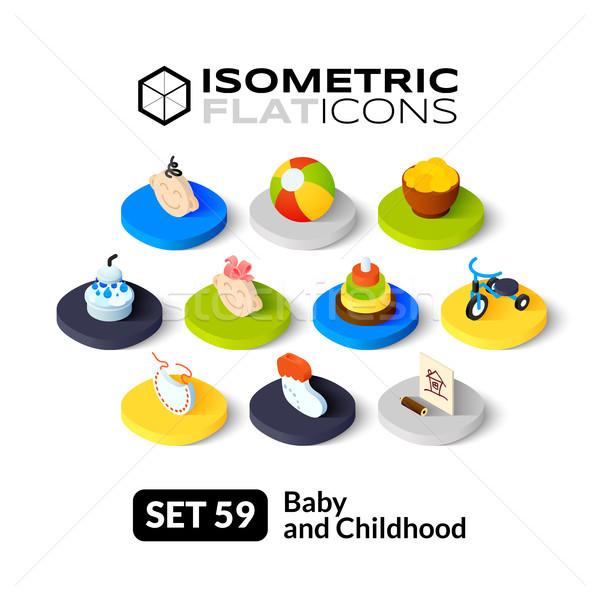Izometrik simgeler 3D piktogramlar vektör Stok fotoğraf © sidmay
