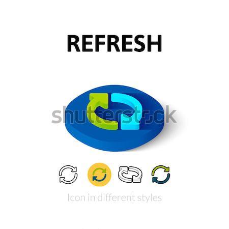ストックフォト: リフレッシュ · アイソメトリック · アイコン · 孤立した · 色 · ベクトル