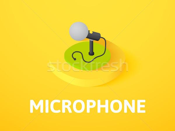 Stok fotoğraf: Mikrofon · izometrik · ikon · yalıtılmış · renk · vektör