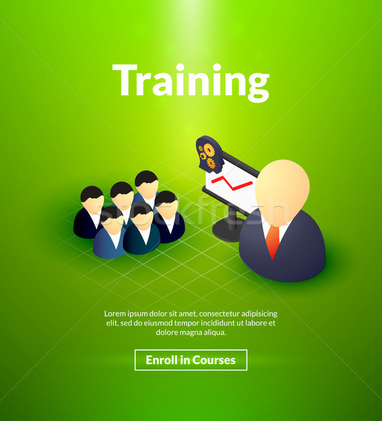 Training poster of isometric color design Stock photo © sidmay
