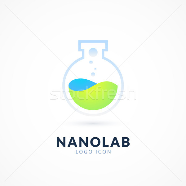 Nano labor logo sablon vektor tudomány Stock fotó © sidmay