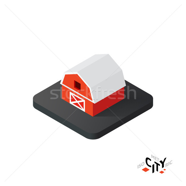 Isometric red barn icon, building city infographic element, vector illustration Stock photo © sidmay