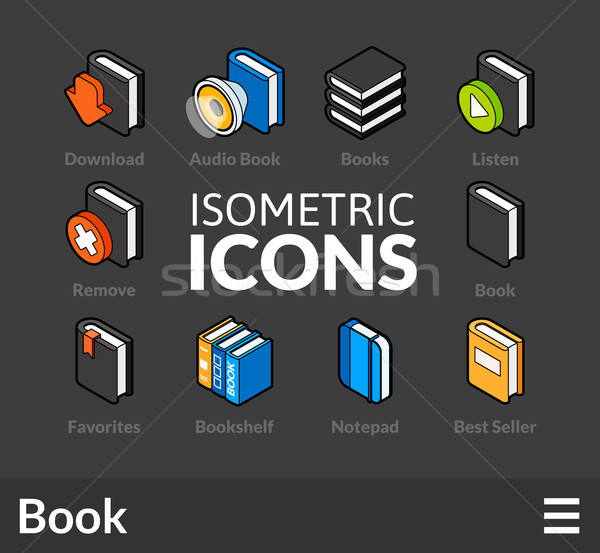 Isometric outline icons set 43 Stock photo © sidmay