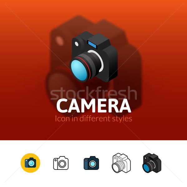 Foto d'archivio: Fotocamera · icona · diverso · stile · colore · vettore