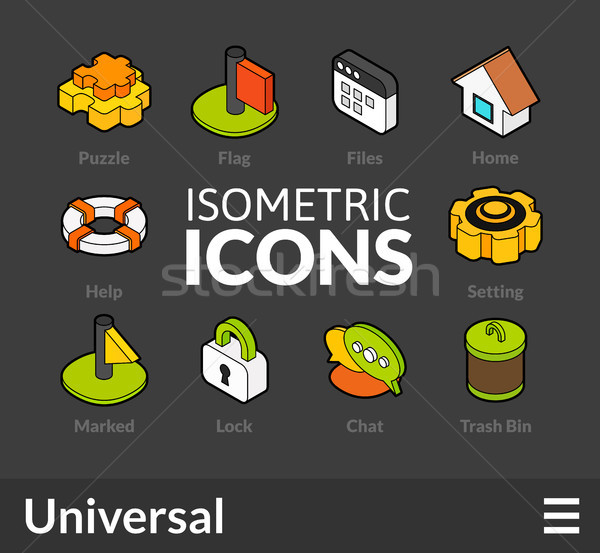 Isometric outline icons set 1 Stock photo © sidmay