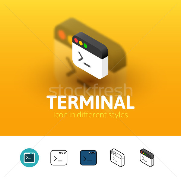 Terminal icon in different style Stock photo © sidmay