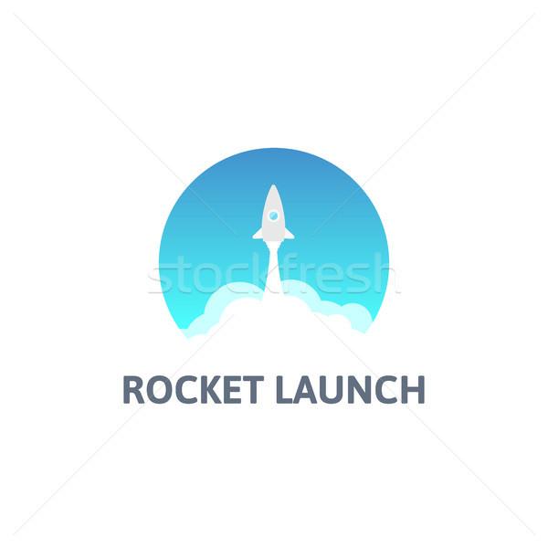 Grijs raket witte wolk cirkel icon Stockfoto © sidmay
