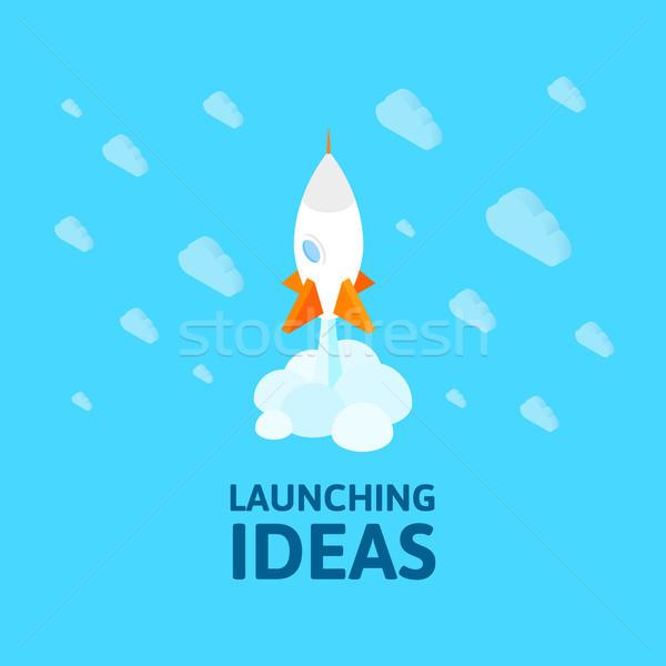 Izometryczny przestrzeni symbol rakietowe statku ikona Zdjęcia stock © sidmay