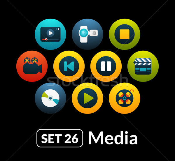 Flat icons vector set 26 - media collection Stock photo © sidmay