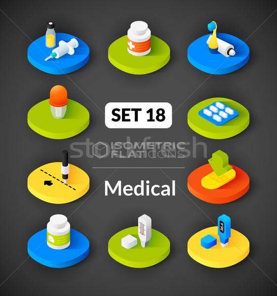 Foto stock: Isométrica · 18 · ícones · 3D · pictogramas