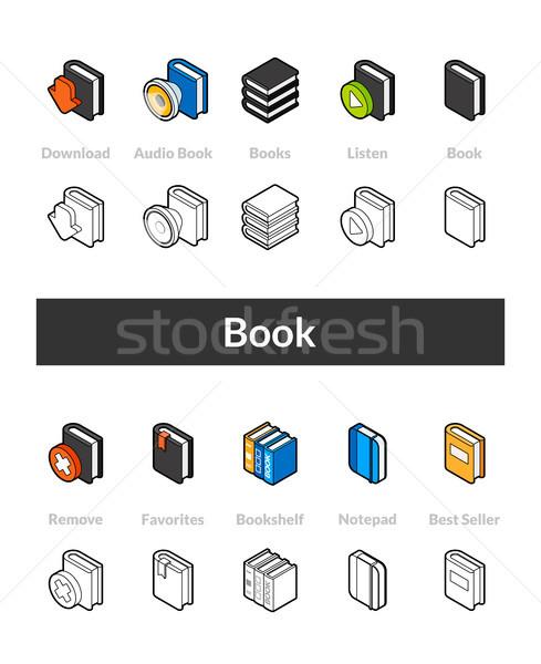 Ingesteld isometrische iconen stijl gekleurd zwarte Stockfoto © sidmay