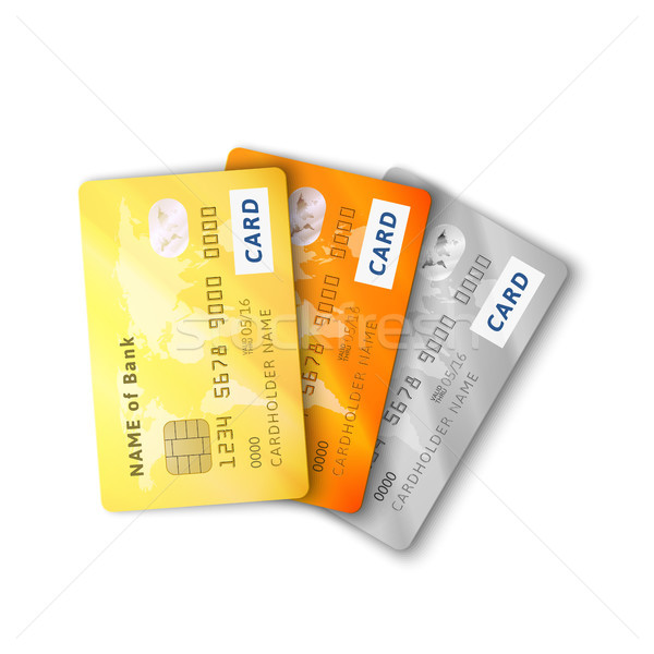 Set of detailed glossy credit cards with two sides Stock photo © sidmay