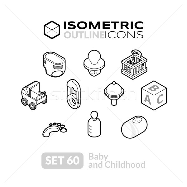 Isometric outline icons set 60 Stock photo © sidmay