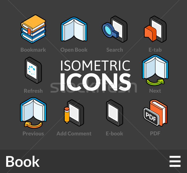 Isometric outline icons set 44 Stock photo © sidmay