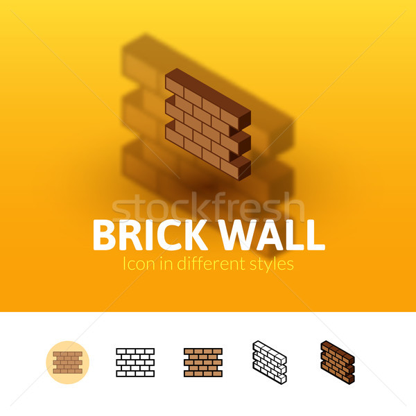 Brick wall icon in different style Stock photo © sidmay