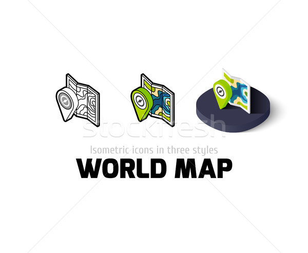 World map icon in different style Stock photo © sidmay