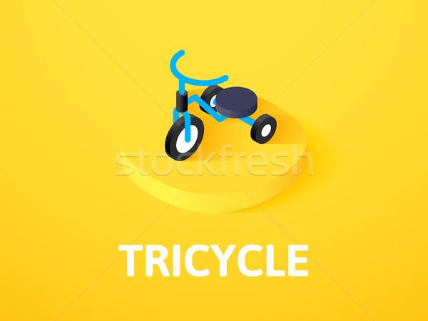üç tekerlekli bisiklet izometrik ikon yalıtılmış renk vektör Stok fotoğraf © sidmay