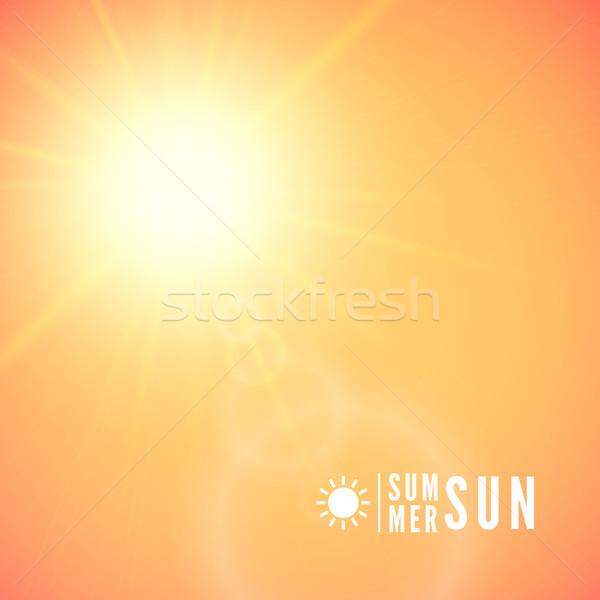 Nyár nap becsillanás kitörés narancs égbolt Stock fotó © sidmay