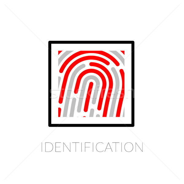 Fingerprint identification system, black symbol with red strip isolated on white background Stock photo © sidmay