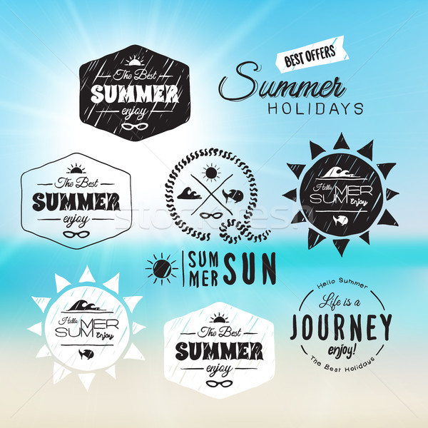 Vintage summer holidays typography design in doodle sketch style Stock photo © sidmay