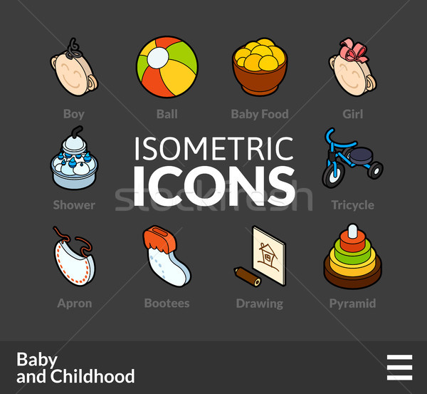 Isometric outline icons set 59 Stock photo © sidmay