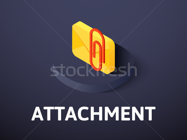 Attachment isometric icon, isolated on color background Stock photo © sidmay