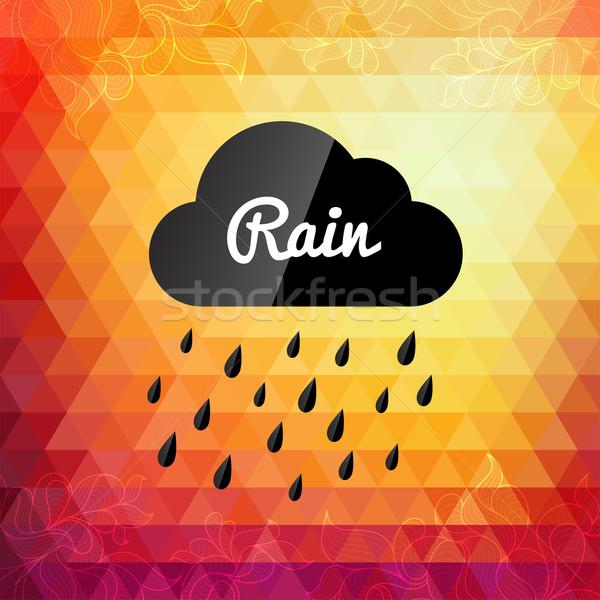 Stock photo: Retro styled autumn rain cloud design card