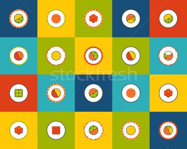 17 iconos vector establecer sushi Foto stock © sidmay