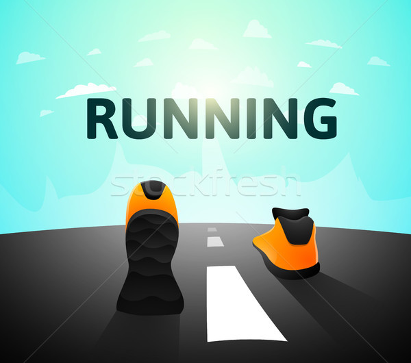 Runner athlete shoes on road, jog workout wellness concept Stock photo © sidmay