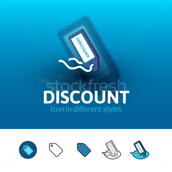 Descuento icono diferente estilo color vector Foto stock © sidmay