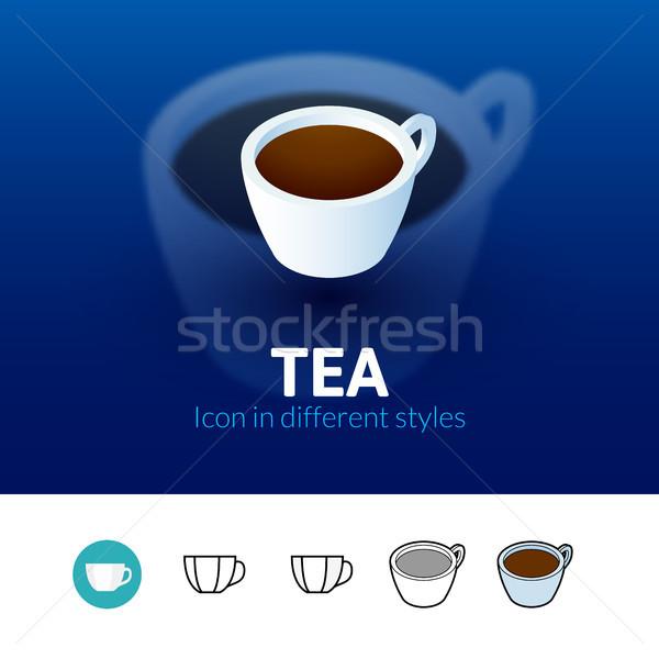 Tea ikon különböző stílus szín vektor Stock fotó © sidmay