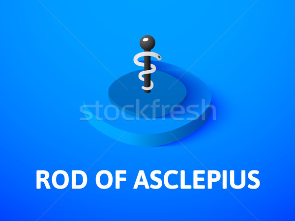 Rod of Asclepius isometric icon, isolated on color background Stock photo © sidmay