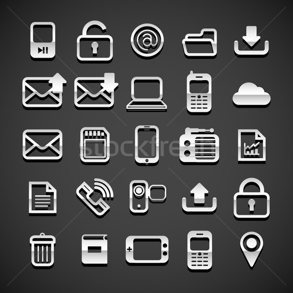 Stock photo: Flat metallic universal icons