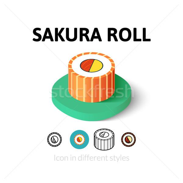 Sakura rulo ikon farklı stil vektör Stok fotoğraf © sidmay