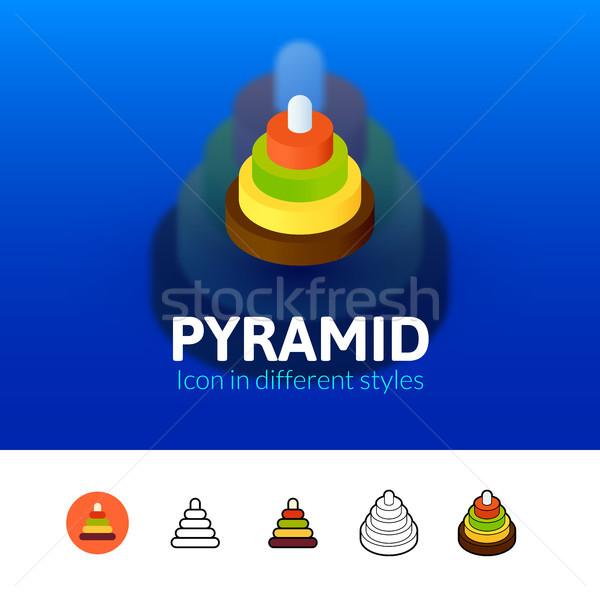 Piramide icon verschillend stijl kleur vector Stockfoto © sidmay