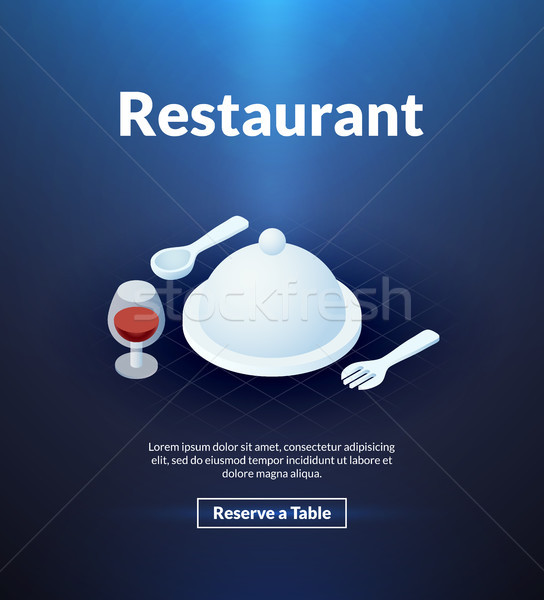 Restaurant poster of isometric color design Stock photo © sidmay