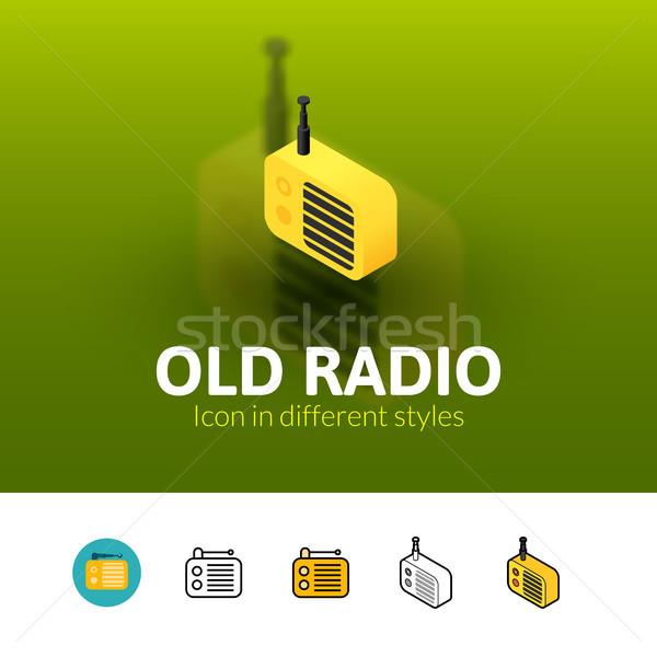 Oude radio icon verschillend stijl kleur Stockfoto © sidmay