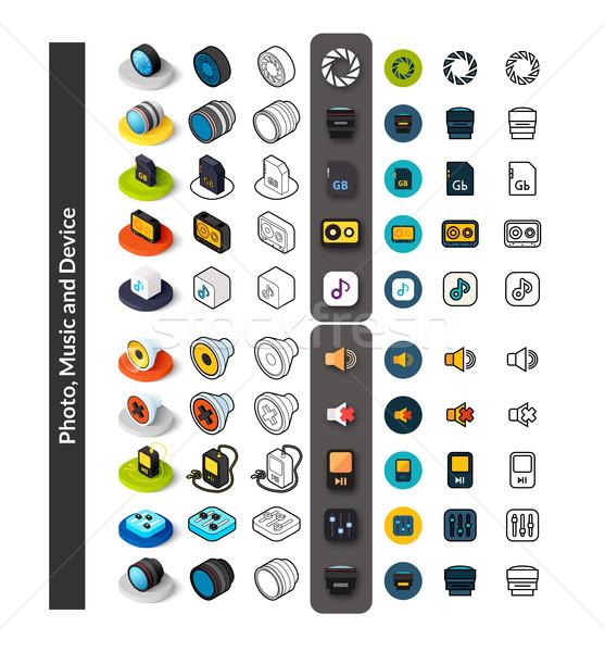 Foto stock: Conjunto · ícones · diferente · estilo · isométrica