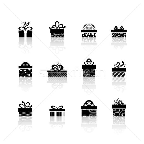 Vettore scatola regalo icone vacanze presenta design Foto d'archivio © sidmay